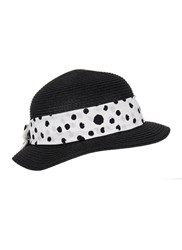 Dents Ladies Paperstraw Pull On Sunhat Black White