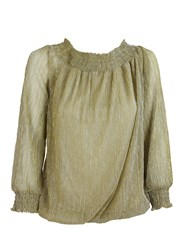 Feverfish Glitter Chiffon Top Gold