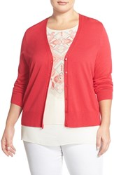 Sejour Plus Size Women's V Neck Cardigan Red Barberry