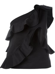 Msgm Asymmetric Ruffle Tank Top Black