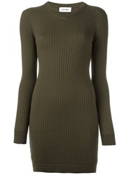 Courreges Fitted Knit Dress Green
