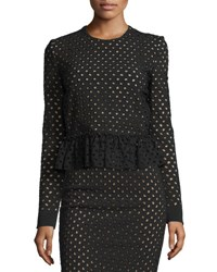Tom Ford Broderie Anglaise Peplum Top Black