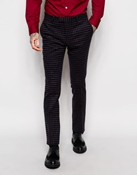 Noose And Monkey Brushed Check Suit Pants With Stretch In Super Skinny Fit Navy