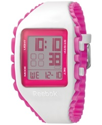 Reebok Unisex Digital Workout Zig White And Pink Silicone Strap Watch 41Mm Rf Wz1 G9 Pwip Pp