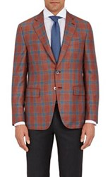 Isaia Men's Windowpane Plaid Gregory Sportcoat Pink