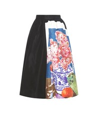Prada Printed Silk Skirt Black