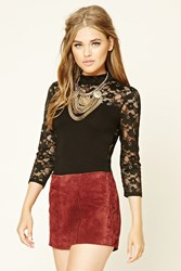 Forever 21 Floral Lace Mock Neck Bodysuit