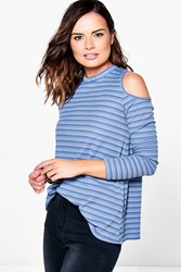 Boohoo Striped Rib Cold Shoulder T Shirt Blue