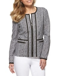 Rafaella Leopard Print Double Weave Jacket Black White