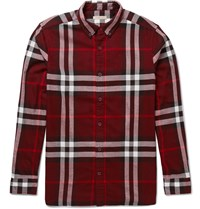 Burberry Button Down Collar Checked Cotton Flannel Shirt Burgundy
