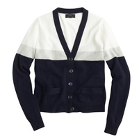 J.Crew Collection Cashmere V Neck Cardigan In Colorblock Snow Navy