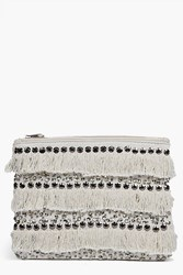 Boohoo Moroccan Sequin Fringed Clutch Bag White