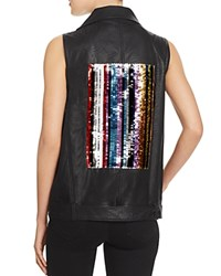 Sunset Spring Sequin Patch Faux Leather Vest Black