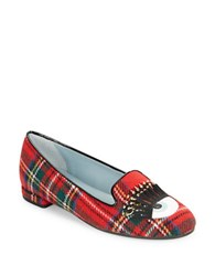 Chiara Ferragni Cf1208 Winking Eyebrow Ring Plaid Flats Red