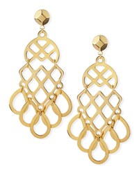 16K Gold Plated Lace Earrings Tory Burch Shiny Brass