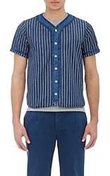 Visvim Men's Striped Baseball Shirt Blue