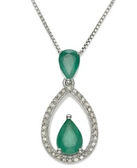 Macy's Sterling Silver Necklace Emerald 1 1 10 Ct. T.W. And Diamond 1 8 Ct. T.W. Drop Pendant