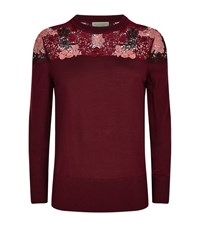 Burberry Embroidered Shoulder Wool Sweater Female Wine