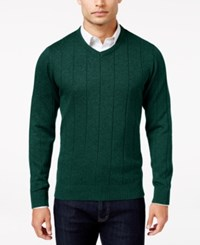 John Ashford Men's V Neck Striped Texture Sweater Only At Macy's Dark Forest