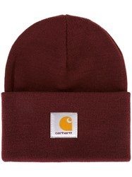 Carhartt Logo Patch Beanie Hat Red