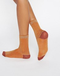 Monki Ribbed Metallic Sock Orange