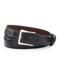 Glazed Alligator Belt With 'The Watch' Buckle Navy Made To Order