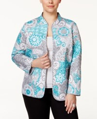 Alfred Dunner Plus Size Printed Open Front Blazer Multi