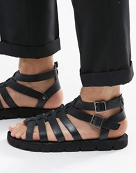 Dune Leather Sandals In Black Black