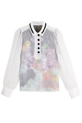 Carven Sheer Blouse With Floral Underlay Multicolor