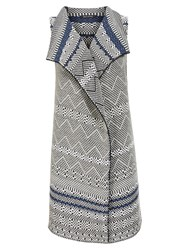Marc O'polo Sleeveless Cardigan In Jacquard Pattern White