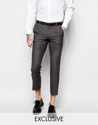 Heart And Dagger Herringbone Trousers With Fleck In Cropped Super Skinny Fit Grey