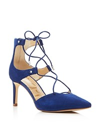 Sam Edelman Taylor Suede Pointed Toe Lace Up Pumps Bandana Blue