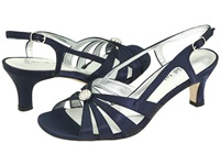 David Tate Rosette Navy Satin Women's 1 2 Inch Heel Shoes