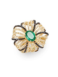Effy Final Call Diamond Emerald And 14K Yellow Gold Flower Ring