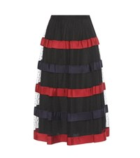 Red Valentino Tulle And Ribbon Midi Skirt Black
