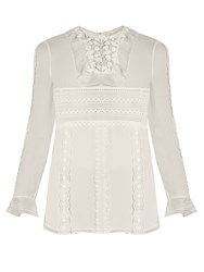Giambattista Valli Lace Panelled Silk Georgette Blouse Ivory