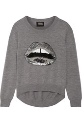 Markus Lupfer Lara Lip Joey Sequin Embellished Merino Wool Sweater Anthracite