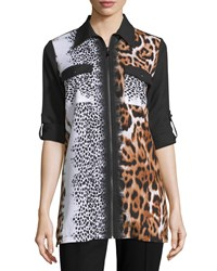 Alberto Makali Half Sleeve Animal Print Zip Tunic Brown Black