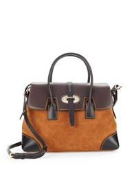 Dooney And Bourke Elisa Leather Suede Satchel Amber