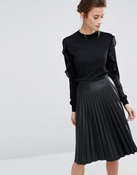 Warehouse Long Sleeve Jumper With Frill Sleeves Black