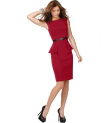 Xoxo Juniors' Cap Sleeve Peplum Sheath Dress Oxblood