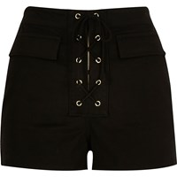 River Island Womens Black Lace Up High Waisted Shorts