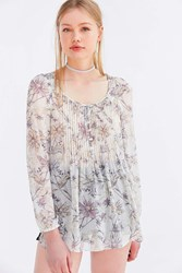 Kimchi And Blue Floral Pintucked Blouse Neutral Multi