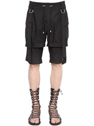 Balmain Belted Cotton Twill Double Cargo Shorts