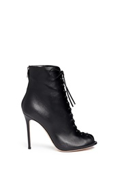 Gianvito Rossi Corset Lace Up Leather Peep Toe Boots Black
