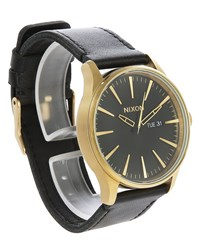 Nixon Gold And Black Sentry Leather Watch Yellow
