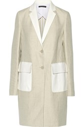Theory Lagata Leather Trimmed Linen And Cotton Blend Jacket White