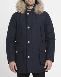 Woolrich Navy Arctic Goose Down Fur Lined Hood Waterproof Parka Blue
