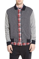 Howe '3Rd Base' Snap Front Baseball Jacket Grey Wall Street