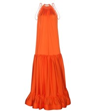 Stella Mccartney Embellished Silk Dress Orange